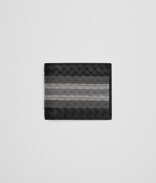 BI-FOLD WALLET IN NERO INTRECCIATO NAPPA, EMBROIDERED DETAILS