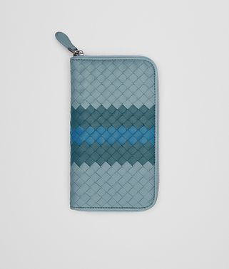 ZIP AROUND WALLET IN AIR FORCE BLUE BRIGHTON PEACOCK INTRECCIATO NAPPA CLUB LAMB LEATHER
