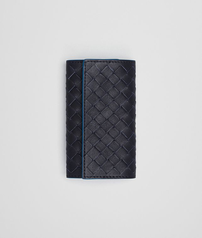 BOTTEGA VENETA KEY CASE IN DARK NAVY PEACOCK INTRECCIATO CALF Keyring or Bracelets E fp