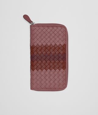 ZIP AROUND WALLET IN DUSTY ROSE PETRA NEW BAROLO INTRECCIATO NAPPA CLUB LAMB LEATHER