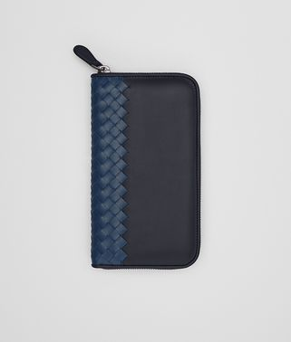 ZIP-AROUND WALLET IN DARK NAVY PACIFIC CALF LEATHER, INTRECCIATO DETAILS