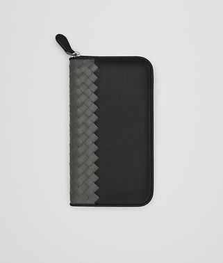 ZIP-AROUND WALLET IN NERO NEW LIGHT GREY CALF LEATHER, INTRECCIATO DETAILS