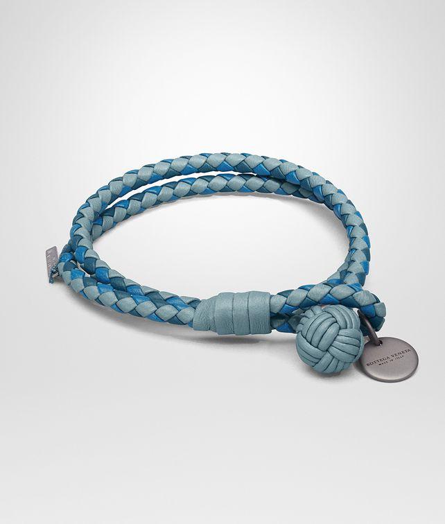 BOTTEGA VENETA BRACELET IN AIR FORCE BLUE BRIGHTON PEACOCK INTRECCIATO NAPPA CLUB LAMB LEATHER Keyring or Bracelets E fp