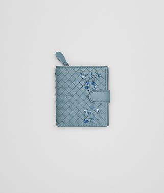 MINI WALLET IN AIR FORCE BLUE EMBROIDERED NAPPA