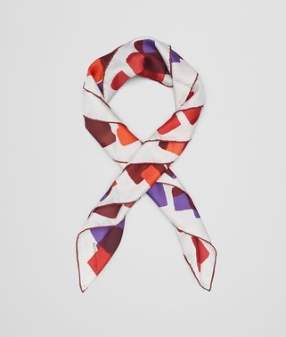 レッド ライトパープル シルク スカーフ
