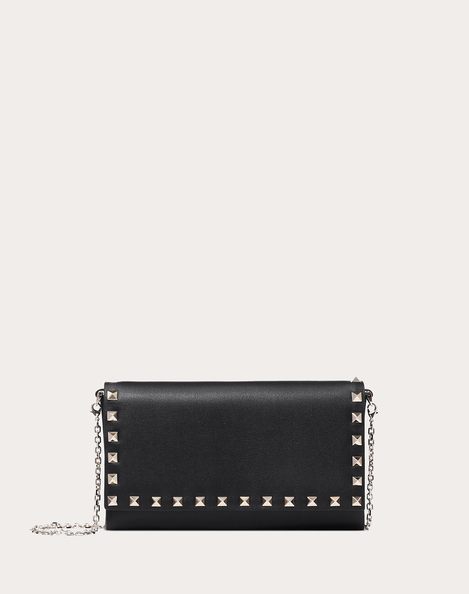 VALENTINO Logo Studs Solid color Internal card slots Snap button closure Removable shoulder strap  46486597px