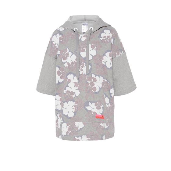 Grey floral long hoodie