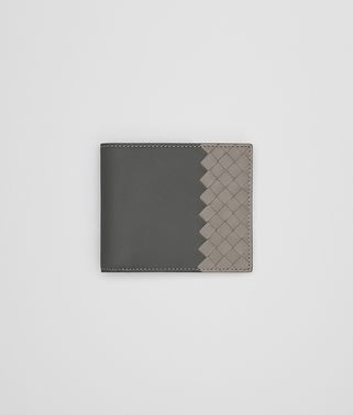 BI-FOLD WALLET IN NEW LIGHT GREY FUMÉ CALF LEATHER, INTRECCIATO DETAILS