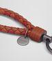 BOTTEGA VENETA KEY RING IN CALVADOS GERANIUM CHINA RED INTRECCIATO NAPPA CLUB LAMB LEATHER Keyring or Bracelets E ap