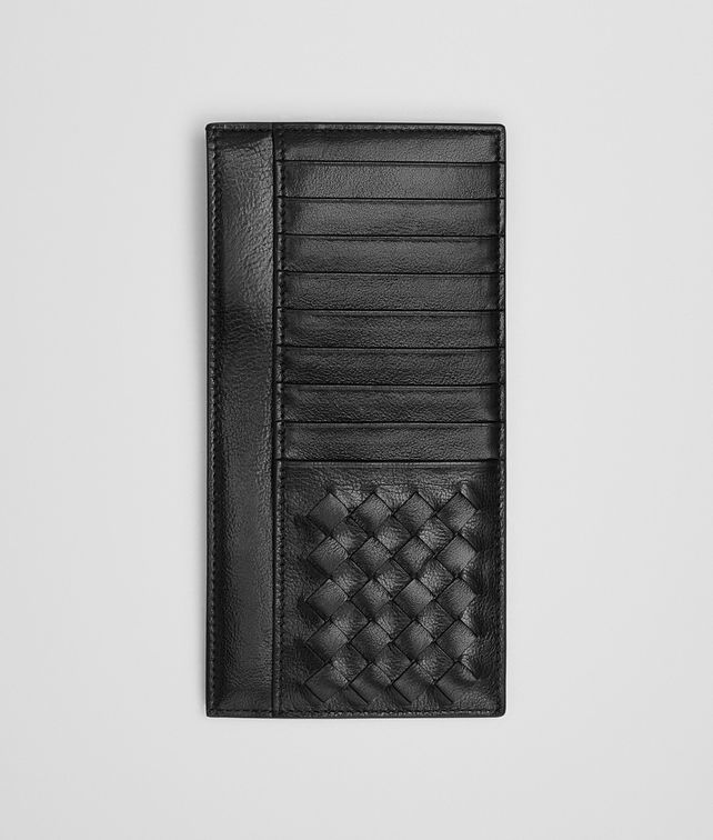 BOTTEGA VENETA CARD CASE IN NERO CALF LEATHER, INTRECCIATO DETAILS Card Case or Coin Purse U fp