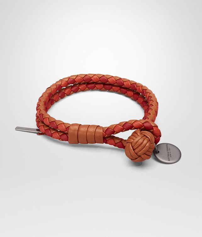 BOTTEGA VENETA BRACELET IN CALVADOS GERANIUM CHINA RED INTRECCIATO NAPPA CLUB LAMBSKIN Keyring or Bracelets E fp