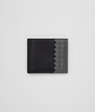 BI-FOLD WALLET IN NERO NEW LIGHT GREY CALF LEATHER, INTRECCIATO DETAILS