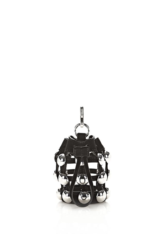 ALEXANDER WANG accessories DOME STUD MINI ROXY DRAWSTRING KEYCHAIN IN BLACK