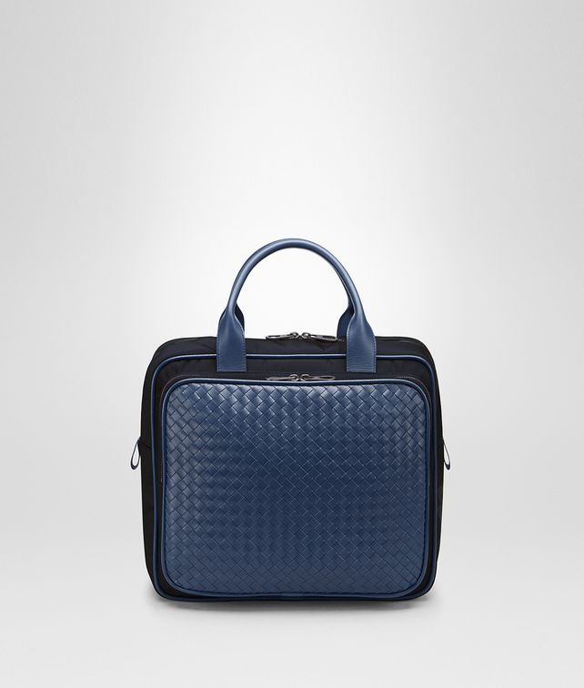 BOTTEGA VENETA TRAVEL BAG IN TOURMALINE TECHNICAL CANVAS AND PACIFIC INTRECCIATO CALF Trolley and Carry-on bag E fp