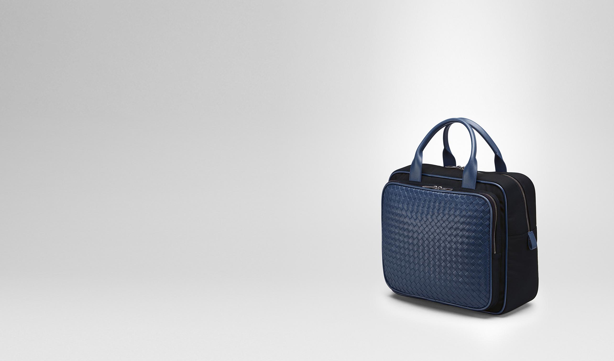 Bottega Veneta® - TRAVEL BAG IN TOURMALINE TECHNICAL CANVAS AND PACIFIC  INTRECCIATO CALF  62d73db2e9fb0