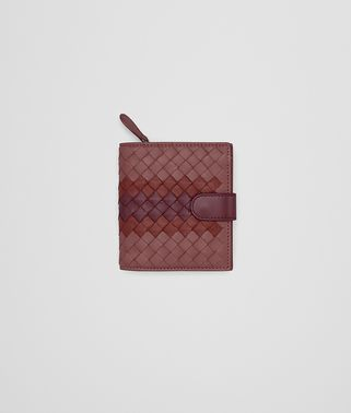 MINI WALLET IN DUSTY ROSE PETRA NEW BAROLO INTRECCIATO NAPPA CLUB LAMB LEATHER