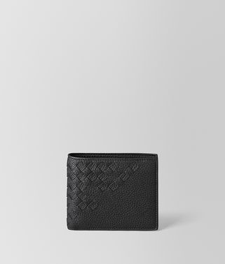 BI-FOLD WALLET WITH COIN PURSE IN NERO CERVO, INTRECCIATO DETAILS