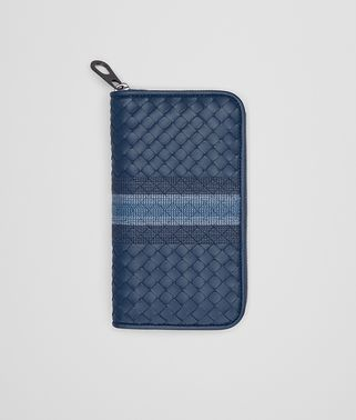 ZIP-AROUND WALLET IN PACIFIC INTRECCIATO NAPPA, EMBROIDERED DETAILS