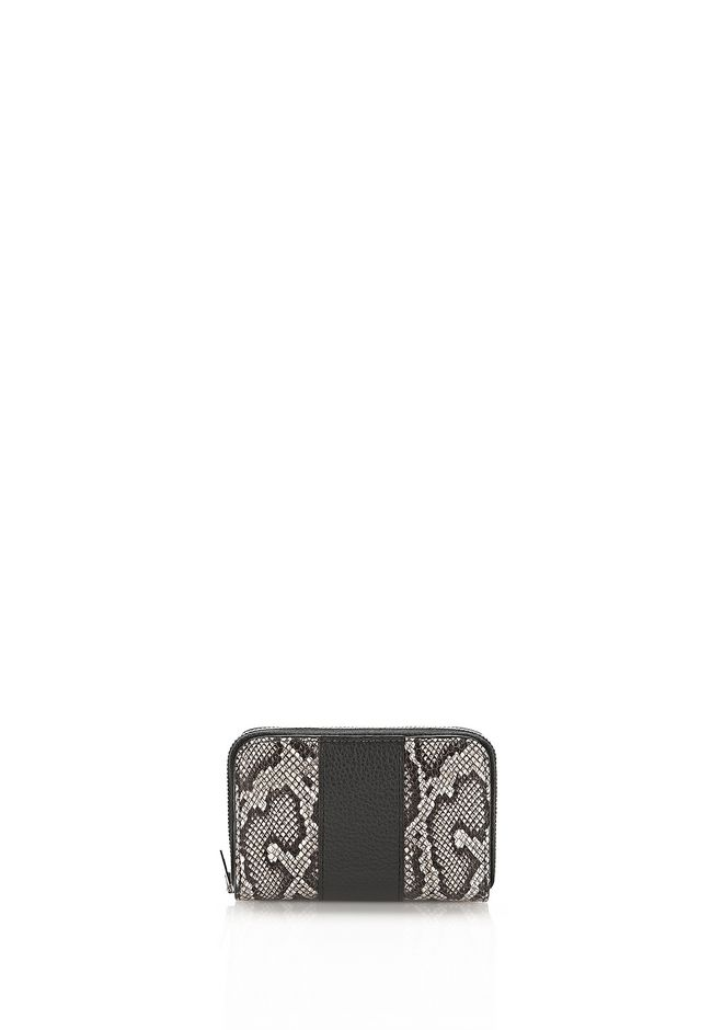 ALEXANDER WANG accessories DIME MINI SNAKE EMBOSSED COMPACT WALLET