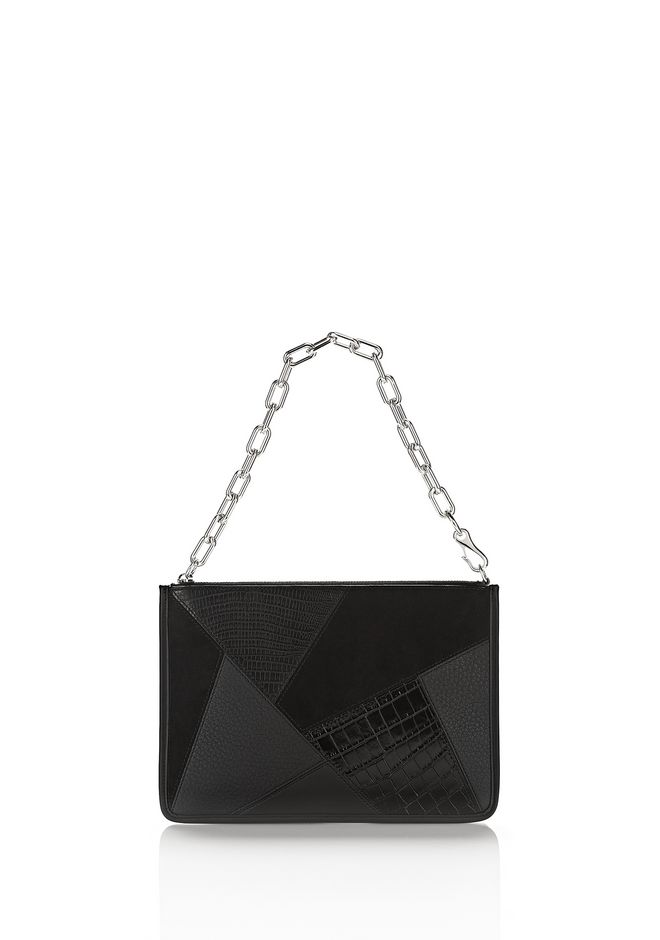 ALEXANDER WANG new-arrivals-accessories-woman LARGE ATTICA CHAIN FLAT POUCH IN BLACK MIXED PATCHWORK