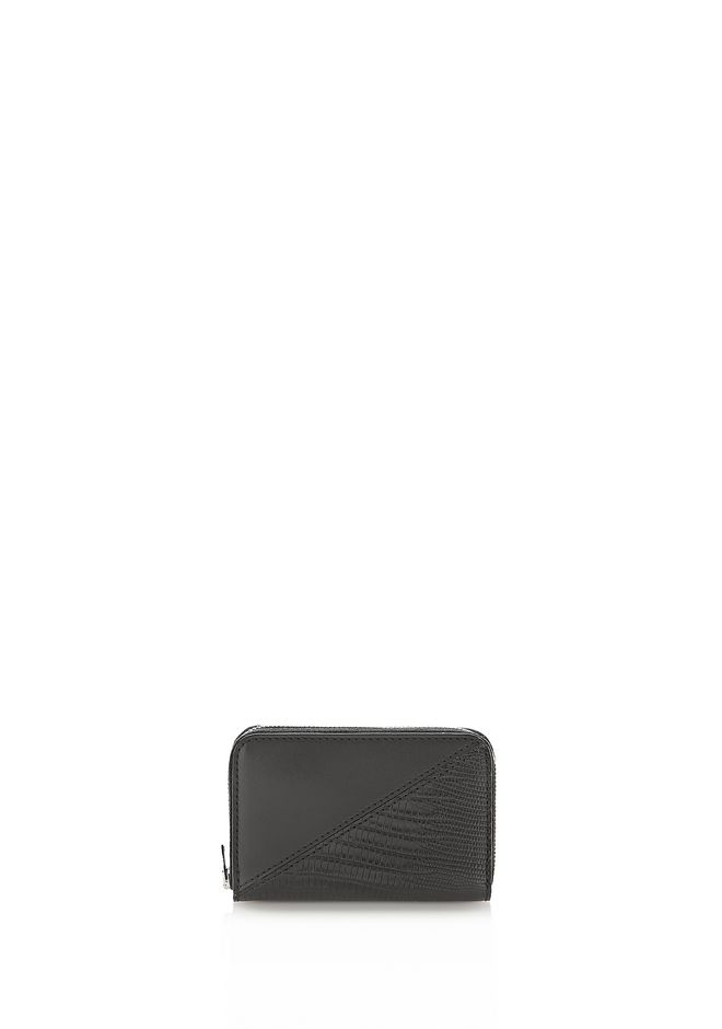 ALEXANDER WANG accessories DIME MINI COMPACT WALLET IN BLACK MIXED PATCHWORK