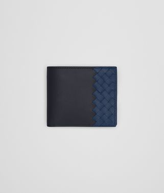 BI-FOLD WALLET WITH COIN PURSE IN DARK NAVY PACIFIC CALF LEATHER, INTRECCIATO DETAILS