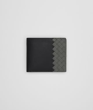 BI-FOLD WALLET WITH COIN PURSE IN NERO NEW LIGHT GREY CALF LEATHER, INTRECCIATO DETAILS