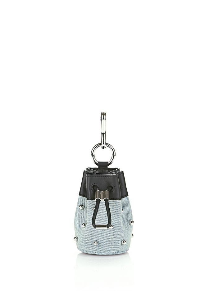 ALEXANDER WANG new-arrivals-accessories-woman BALL STUD MNI ROXY DRAWSTRING KEYCHAIN IN DENIM