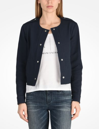 ARMANI EXCHANGE TEXTURED CROPPED COLLARLESS JACKET Woman front