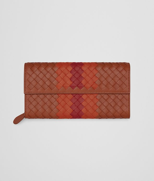 BOTTEGA VENETA CONTINENTAL WALLET IN CALVADOS GERANIUM CHINA RED INTRECCIATO NAPPA CLUB LAMB LEATHER Continental Wallet Woman fp