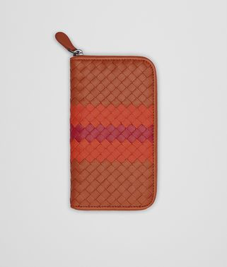 ZIP AROUND WALLET IN CALVADOS GERANIUM CHINA RED INTRECCIATO NAPPA CLUB LAMB LEATHER
