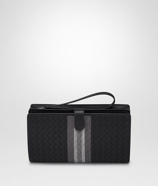 MULTI FUNCTIONAL CASE IN NERO INTRECCIATO NAPPA, EMBROIDERED DETAILS
