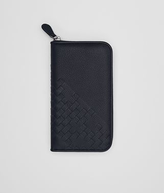 ZIP-AROUND WALLET IN NEW DARK NAVY DEERSKIN, INTRECCIATO DETAILS