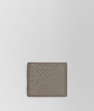 BI-FOLD WALLET WITH COIN PURSE IN STEEL CERVO, INTRECCIATO DETAILS