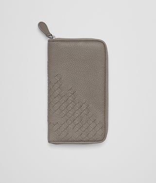 ZIP-AROUND WALLET IN STEEL DEERSKIN, INTRECCIATO DETAILS