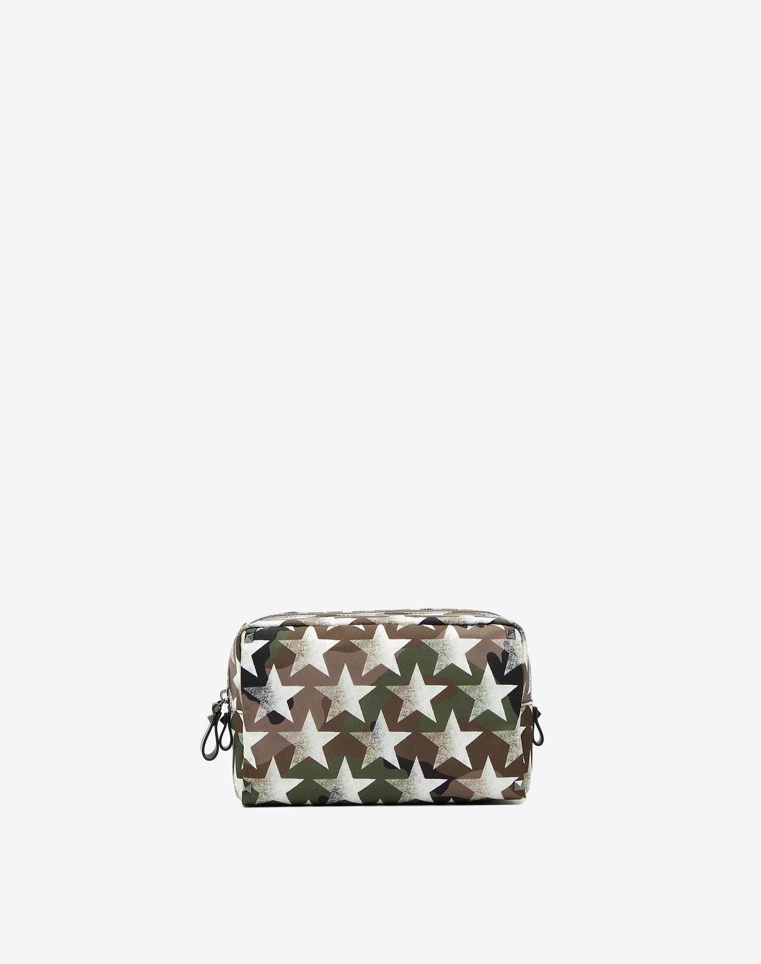 VALENTINO Twill Camouflage design Studs Logo Zip closure Internal zip pocket  46494412vk