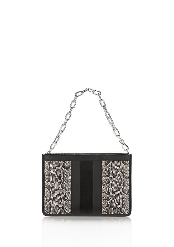 ALEXANDER WANG KLEINLEDERWAREN Für-sie LARGE ATTICA CHAIN FLAT POUCH IN BLACK SNAKE EMBOSSED