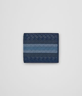 BI-FOLD WALLET WITH COIN PURSE IN PACIFIC INTRECCIATO NAPPA, EMBROIDERED DETAILS