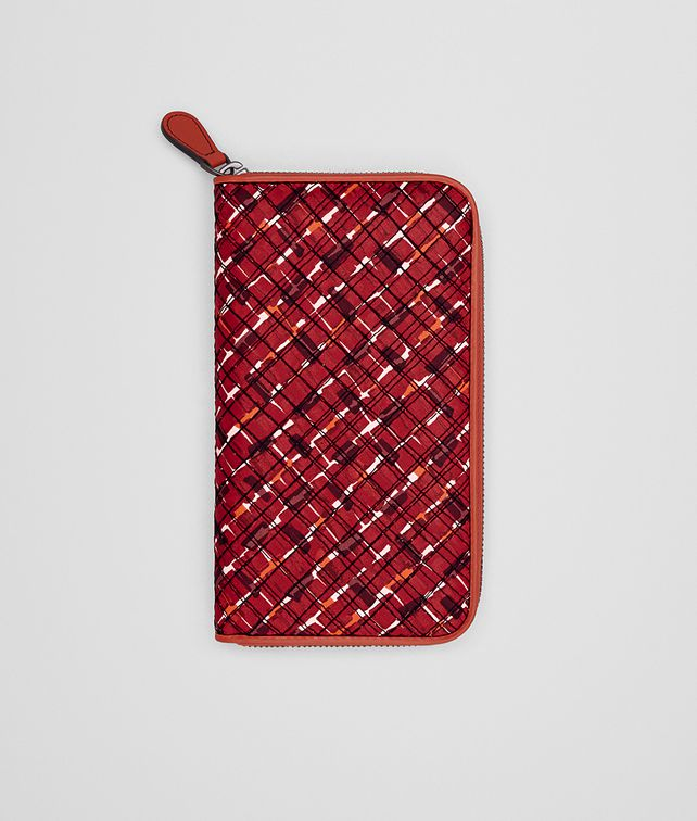 BOTTEGA VENETA ZIP AROUND WALLET IN CHINA RED EMBROIDERED NAPPA Zip Around Wallet D fp