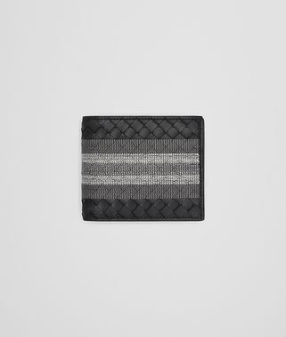 BI-FOLD WALLET WITH COIN PURSE IN NERO INTRECCIATO NAPPA, EMBROIDERED DETAILS