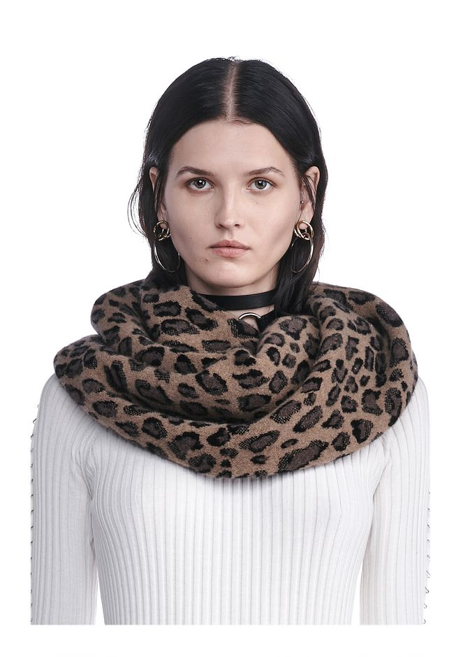 leopard endless scarf scarf hat wang