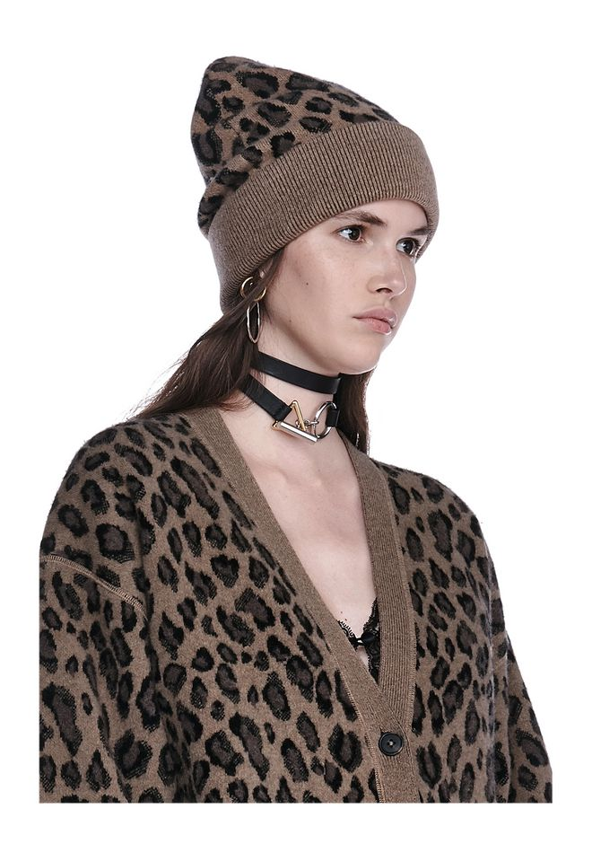 ALEXANDER WANG knitwear-ready-to-wear-woman LEOPARD BEANIE
