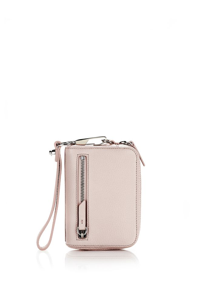ALEXANDER WANG KLEINLEDERWAREN Für-sie LARGE FUMO WALLET IN SOFT PEBBLED PALE PINK WITH RHODIUM