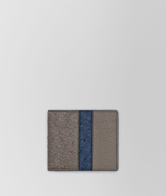 BOTTEGA VENETA BI-FOLD WALLET IN STEEL PACIFIC OSTRICH AND STEEL CERVO Bi-fold Wallet U fp
