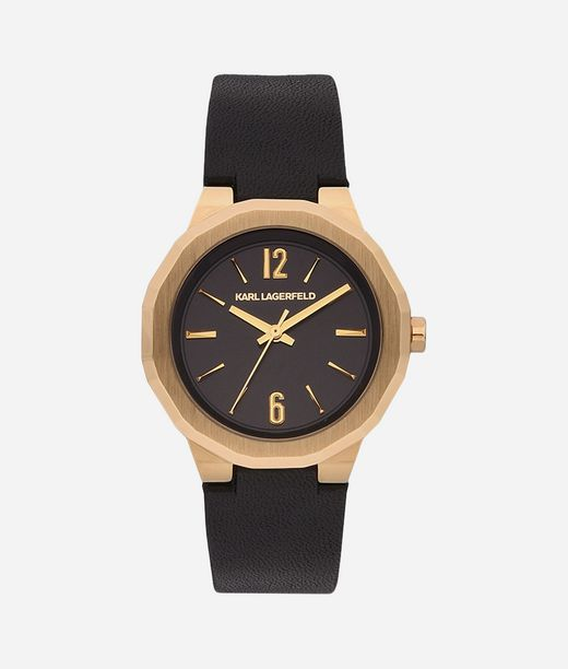 KARL LAGERFELD Joleigh Gold Black Leather 12_f