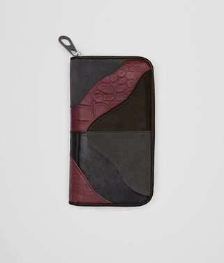 ZIP AROUND WALLET IN ESPRESSO BAROLO LAMB, ARDOISE SUEDE AND NERO CALF, PRINTED CROCODILE DETAILS