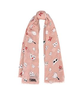 KARL LAGERFELD CHOUPETTE FACES SCARF
