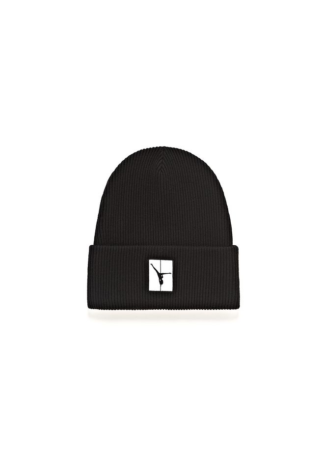 ALEXANDER WANG accessories RIBBED BEANIE WITH FLIP GIRL PATCH