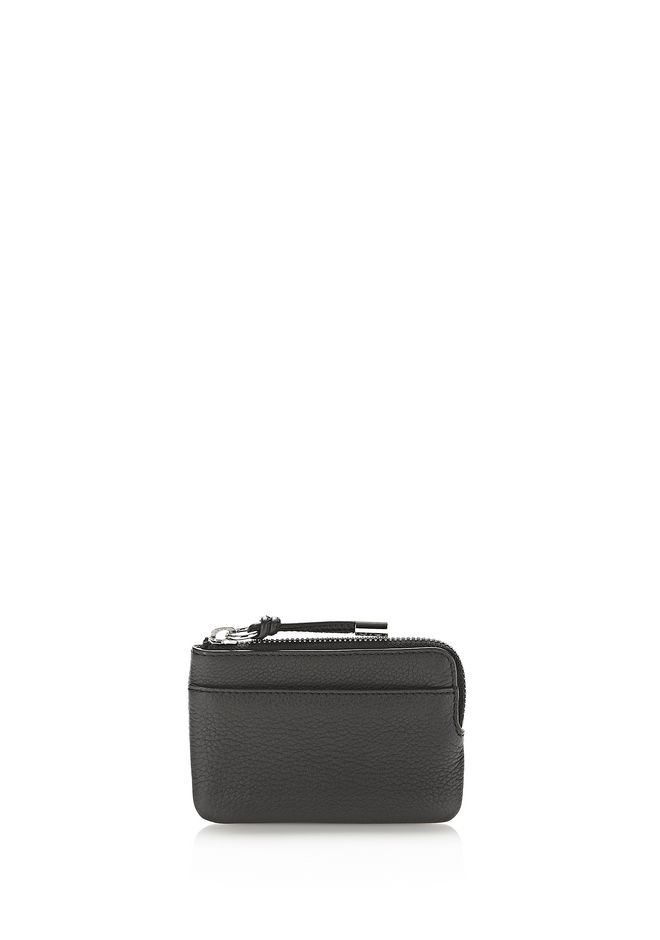 ALEXANDER WANG SMALL LEATHER GOODS ZIP WALLET IN PEBBLED BLACK