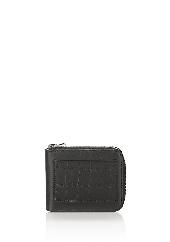 ALEXANDER WANG SMALL LEATHER GOODS CROC EMBOSSED ZIPPED BI-FOLD WALLET
